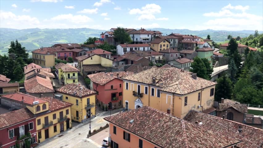 The beautiful small town of Diano d'Alba and the surrounding panorama of Piedmont region in Northern Italy.