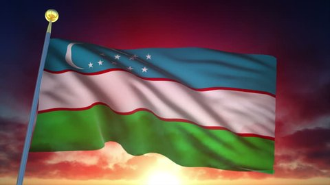 Uzbekistan Flag at Sunset - 25 fps - Loop Animation