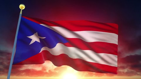 Puerto Rico Flag at Sunset - 25 fps - Loop Animation
