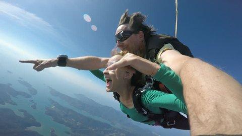 Skydiving tandem selfie 4K