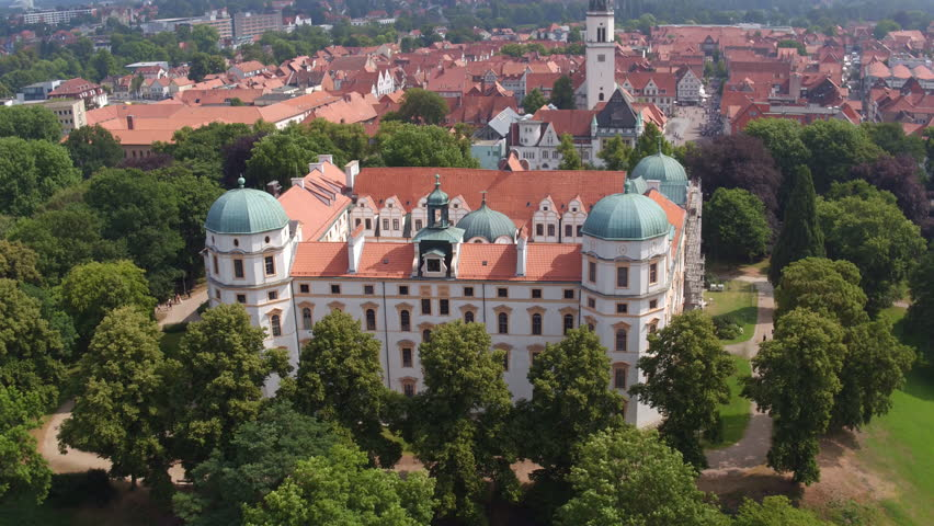 Celle, Germany - 07-29-2016: Drone rising up from baroque castle