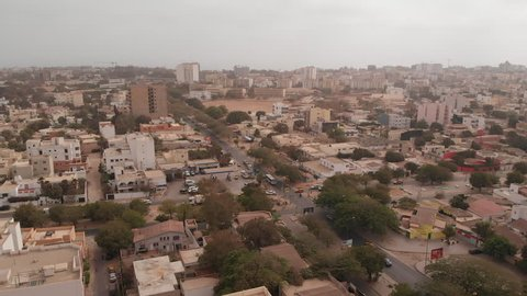 African city aerial: Dakar, Senegal. Point E district intersection of boulevard Bourguiba and Rue 9.