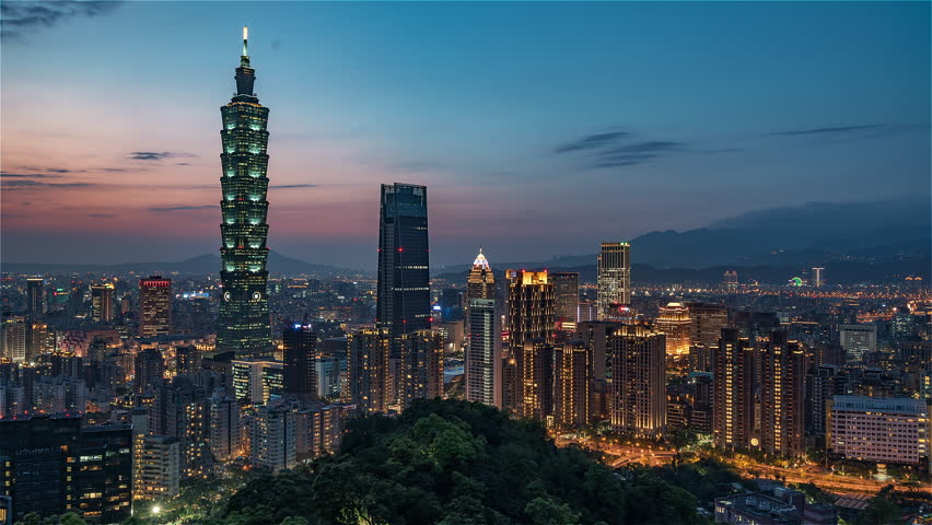 4K Timelapse Sequence of Taipei, Taiwan - Medium shot of Taipei's downtown from day to night