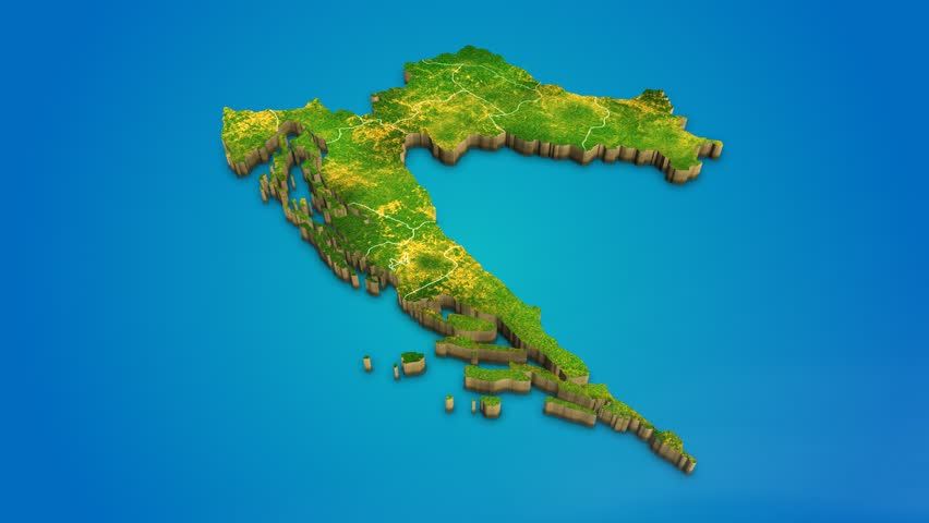 Croatia country map satellite camera zoom in sky effect shot visualization