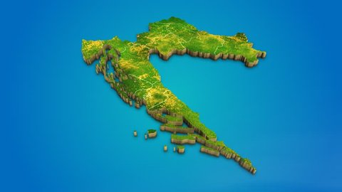 Croatia country map satellite camera zoom in sky effect shot visualization