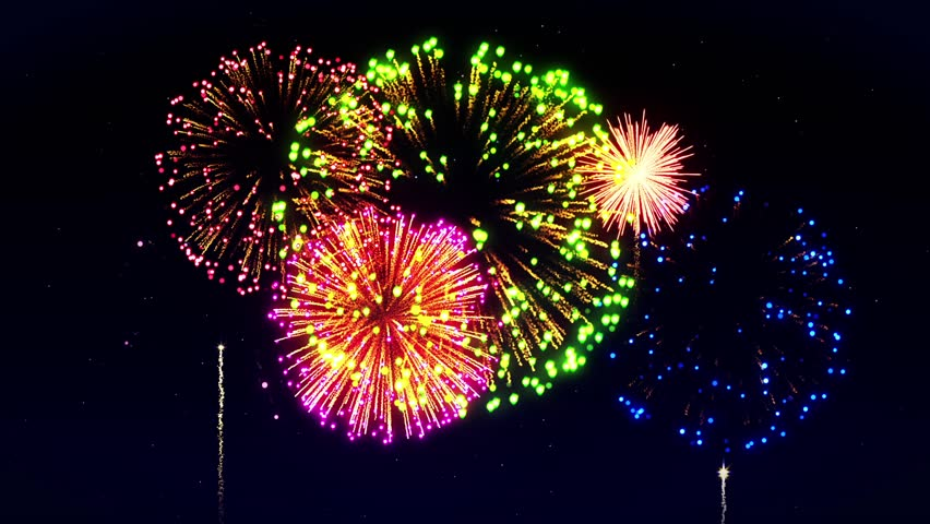 Colorful Fireworks Light Up the Sky, CG Loop Animation, | Shutterstock HD Video #1012256930