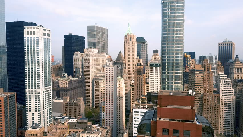 Aerial view of Lower Manhattan, financial and business district, New York City, USA. Drone shot. | Shutterstock HD Video #1012274240