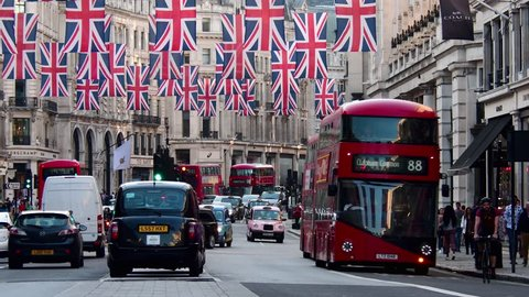 London, England/United Kingdom May 2018 The West End, Regent Street, Union Jacks to celebrate marriage of Prince Harry and Meghan Markle