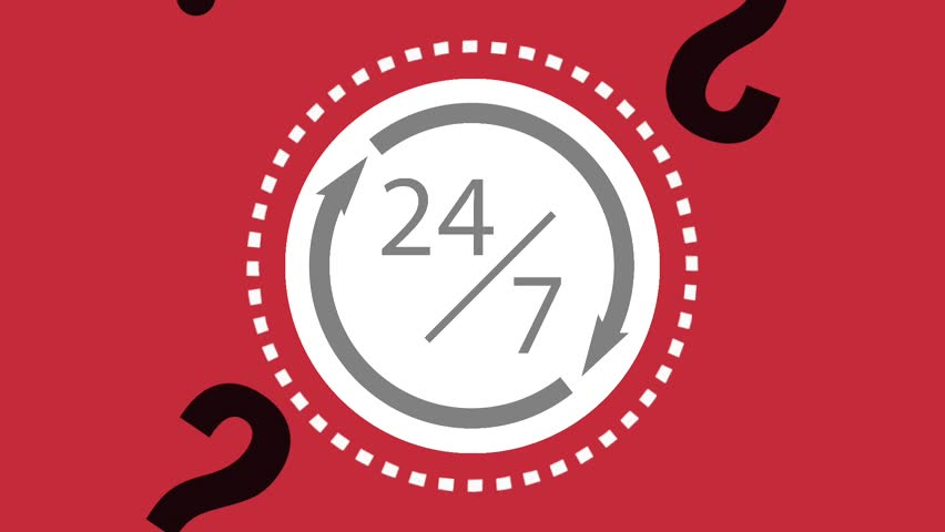 Twentyfour and seven days service HD animation