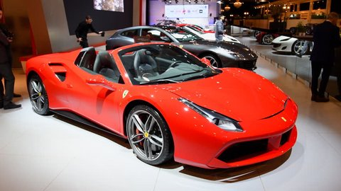 Brussels, Belgium - January 10, 2018: Ferrari 488 Spider two-door hard top convertible sports car on display at the 2018 European motor show in Brussels.