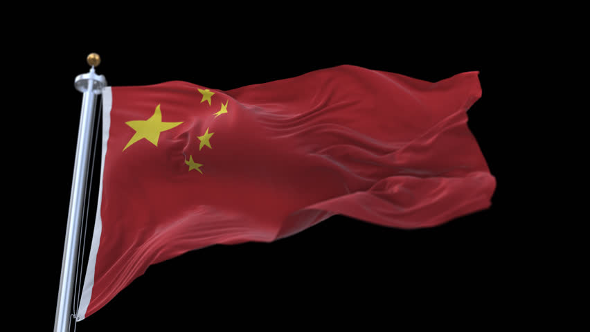 looping flag of Chinese with flagpole waving in wind.A fully digital rendering,The animation loops at 20 seconds.flag 3D animation with alpha channel included.