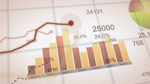 4K financial business chart with diagrams and stock numbers showing profits and losses over time dynamically, a finance animation