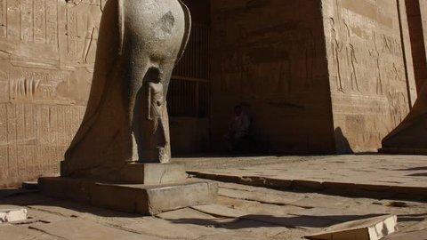 Luxor Horus Statue The entrance to Horus Temple near Luxor