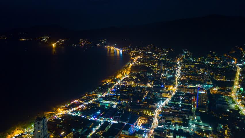 Night illuminated phuket island patong town traffic coastline aerial panorama 4k timelapse thailand | Shutterstock HD Video #1012398650
