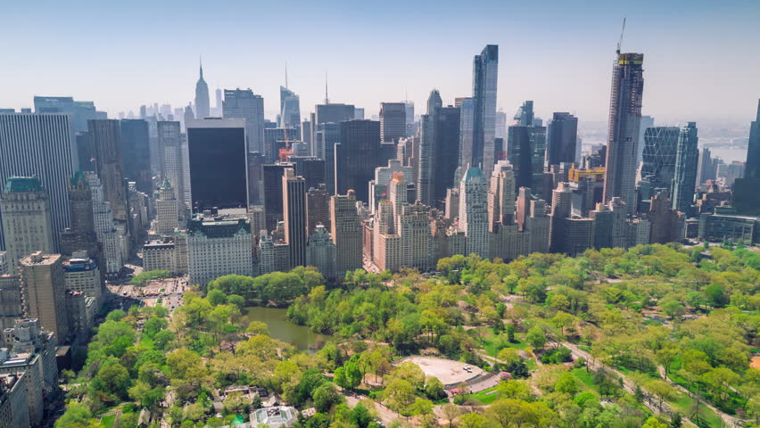 Aerial timelapse dronelapse view of Central Park, Upper East and West Side Manhattan and Midtown Manhattan, New York, USA | Shutterstock HD Video #1012402310