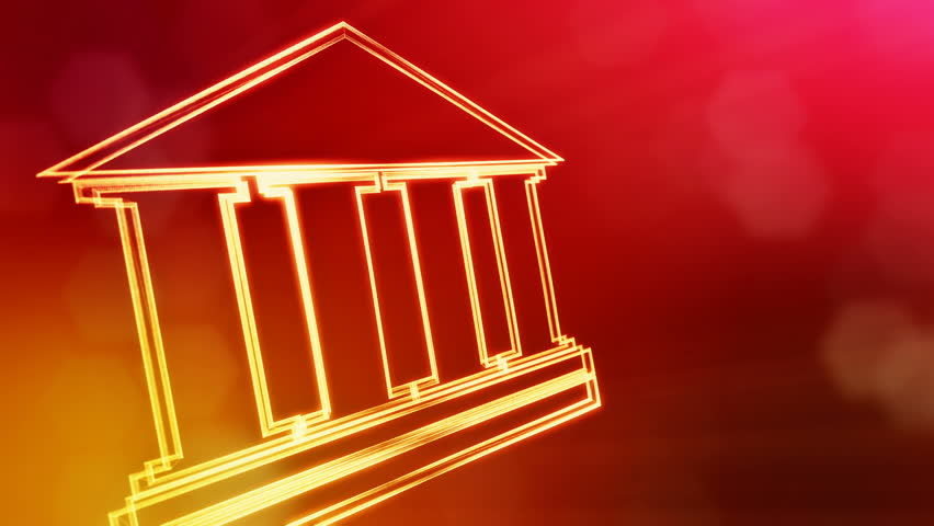 icon of bank. Financial background made of glow particles as vitrtual hologram.. 3D seamless animation with depth of field, bokeh and copy space. Red version 3