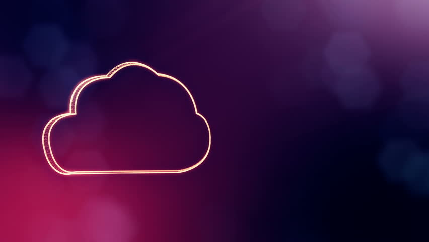 icon of cloud. Background made of glow particles as vitrtual hologram.. 3D seamless animation with depth of field, bokeh and copy space. Violet version 3