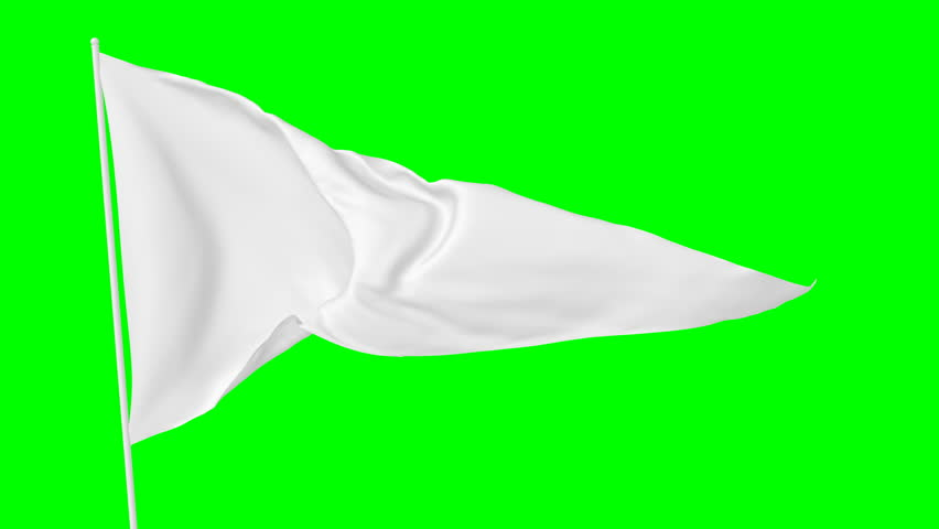 White triangular blank plain flag on flagpole flying and waving in the wind, surrender flag, 3D animation with green screen