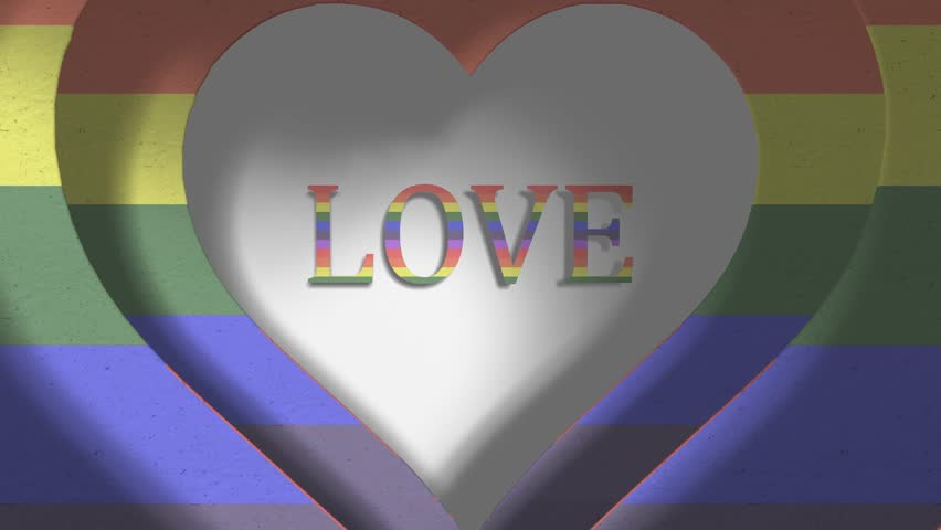Love rainbow Gay Pride LGBT Community Mardi Gras paper cutout title 3D render