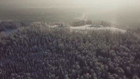 Top view: flying over the Russian Chelyabinsk winter forest