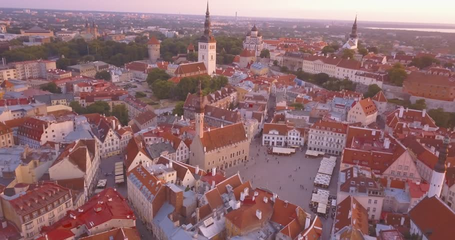Beautiful aerial purple sunset view of the Tallinn old town from above. Amazing Estonia.