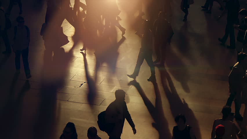 Large crowd of busy pedestrians moving hectically in urban environment | Shutterstock HD Video #1012597220