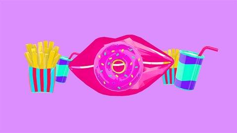 Minimal motion design. Lips and fast food set