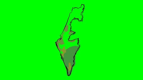 Israel drawing colored map on green screen isolated