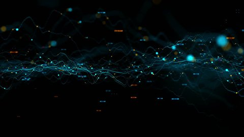 3d render abstract background with graph made of dot particles. Finance graph with details. Complex repeatable graphs. Loopable animation of up and down graph changing.
