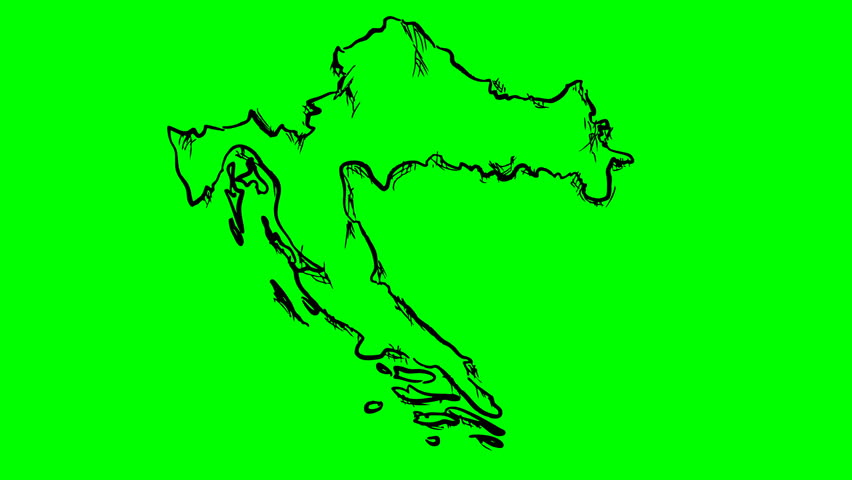 Croatia drawing outline map on green screen isolated