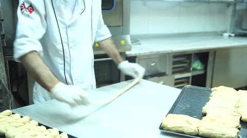 hand made bagel production patisserie master in kitchen doughin Turkey