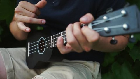 The guy plays the ukulele. The man touches the strings. Musician with an instrument. Black ukulele
