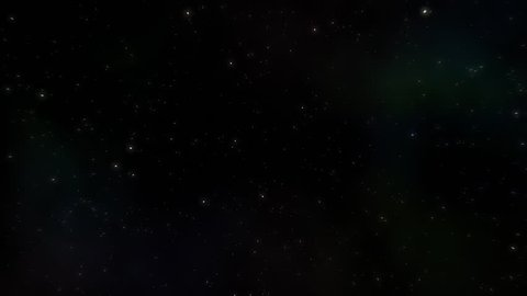 Slow flight through starfield with light glow and nebula background