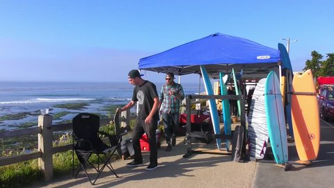 SANTA CRUZ, CA, USA - 30, APRIL 2017: Unidentified people at the SurfAid Cup 2017 at Pleasure Point in Santa Cruz, California, USA. SURFAID is a non-profit humanitarian organization
