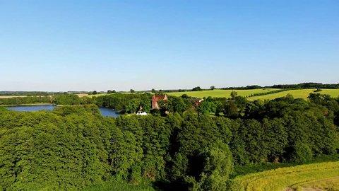Flight along castle Ulrichshausen, Mecklenburg-Vorpommern