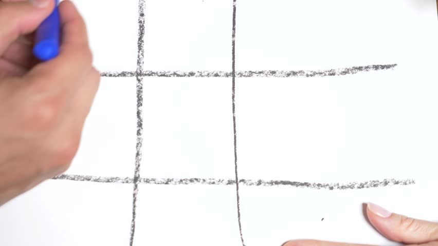 time-lapse. 4k, close-up, top view. Tic Tac Toe blue with a red pencil. male and female hand. the concept of rivalry between a man and a woman.