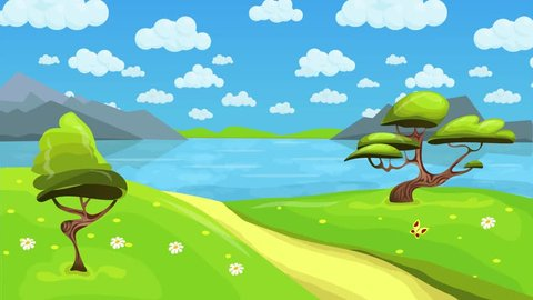 Animated fairytale lake landscape with fluffy clouds in the sky. Cartoon landscape background. Seamless loop flat animation.