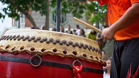 Slow motion of celebration of Matsu God. A taiwanese marching band play music in a traditional parade. Procession of chinese deities in the street of Tamsui at Taipei city, Taiwan-Dan
