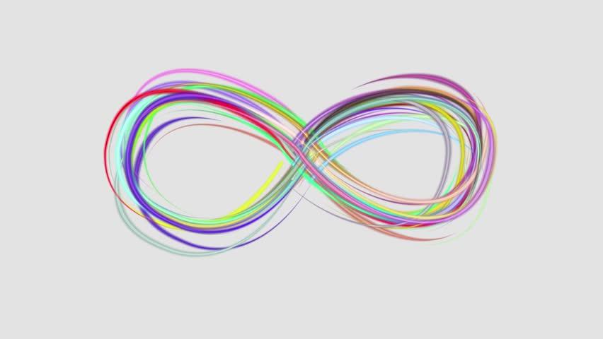 neon rainbow color drawn elegant infinity symbol lines stripes beautiful animation background New quality universal motion dynamic animated colorful joyful music video footage