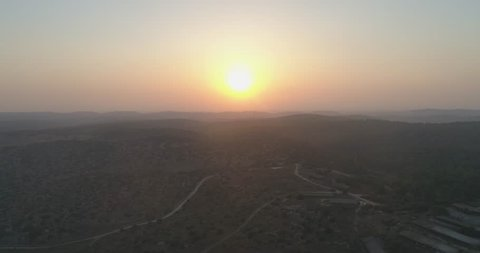 settlements Israel Aerial Sunset On Northern District Golan Heights