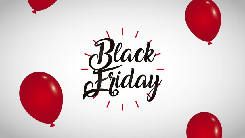 handwritten lettering balloons black friday black friday animation hd