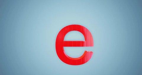 3D rendering red Alphabet split spin rotate on blue background,Letter e lowercase