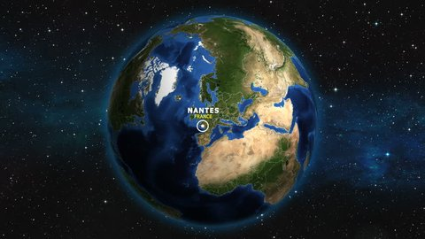 FRANCE NANTES ZOOM IN FROM SPACE