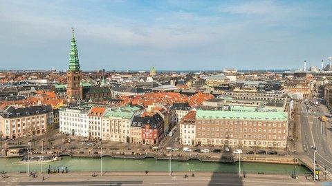 Copenhagen aerial view city skyline timelapse, Copenhagen Denmark 4K Time Lapse