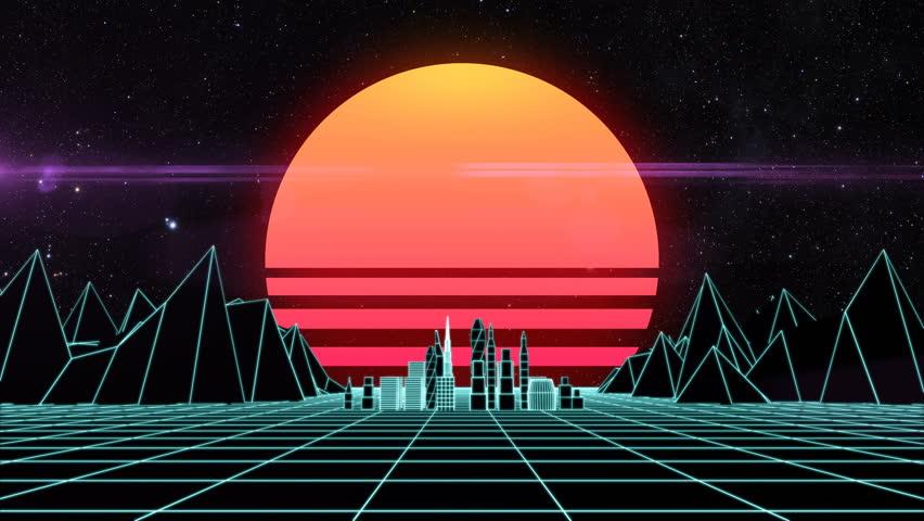 Retro futuristic synth grid cityscape