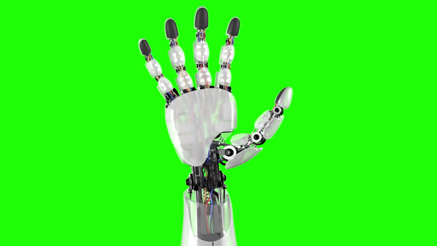 Robotic Hand on a Black and Green Backgrounds. Beautiful 3d animation with a pass of depth of field. 4K