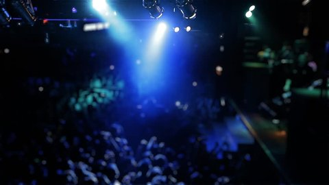 Blurred Crowd in the Night Club.