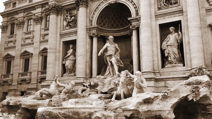 World Famous Fontana Di Trevi (Trevi Fountain) In Rome, Italy. Sepia Tone.