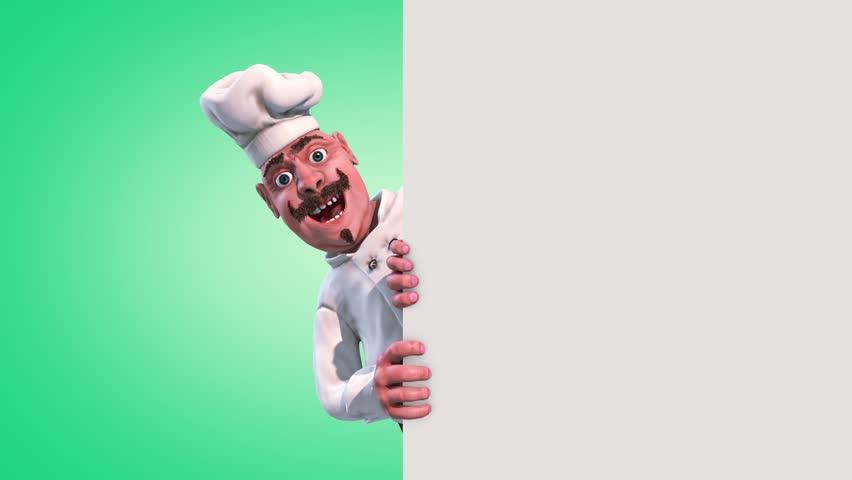Fun Chef Vegetable Alpha Matte 3D Rendering Animation