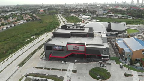 BANGKOK,THAILAND-28June2018:Aerial view over Marvel experience Thailand under construction. Marvel experience Thailand is a new super hero themed entertainment experience park near Mega Bangna.